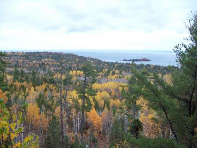 View of Lake Superior from nearby scenic overlook in fall.