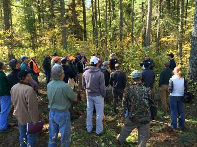 Jason Meyer of St Louis County Land and Minerals discussing the Pine Rider site pre-treatment during a September 2015 tour
