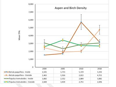 Aspen and Birch density by treatment
