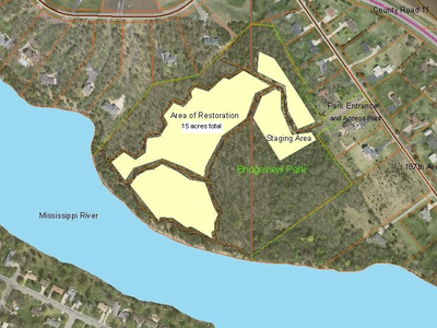 Figure 1: Map of Bridgeview Park Reserve and the treatment area. Roughly half of the park was treated.
