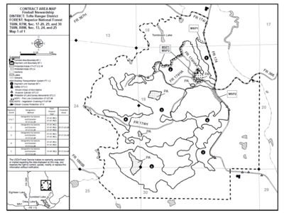 Figure 4: Map of stewardship contract. Site prep burn implementation was approximately the dotted sale area boundary west of FR 174.