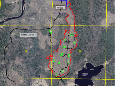 Figure 1. Perimeter of 189-acre Raspberry Timber Sale. Scale is 1:15840. Map by Kelly Martinko; 9/22/16.